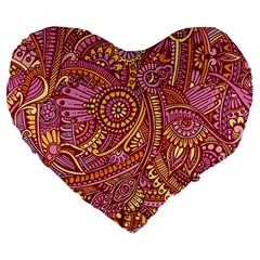 Pink Yellow Hippie Flower Pattern Zz0106 Large 19  Premium Heart Shape Cushion by Zandiepants