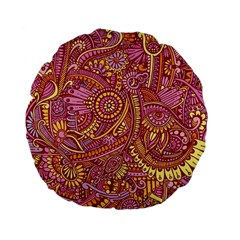 Pink Yellow Hippie Flower Pattern Zz0106 Standard 15  Premium Flano Round Cushion  by Zandiepants