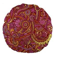 Pink Yellow Hippie Flower Pattern Zz0106 Large 18  Premium Flano Round Cushion  by Zandiepants