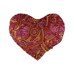 Pink Yellow Hippie Flower Pattern Zz0106 Standard 16  Premium Flano Heart Shape Cushion  by Zandiepants