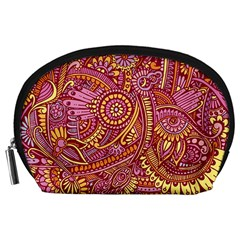 Pink Yellow Hippie Flower Pattern Zz0106 Accessory Pouch (large) by Zandiepants
