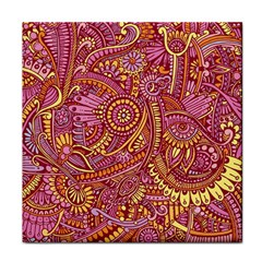 Pink Yellow Hippie Flower Pattern Zz0106 Tile Coaster by Zandiepants