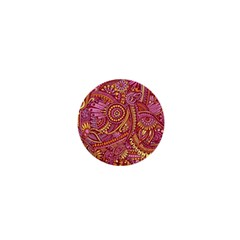 Pink Yellow Hippie Flower Pattern Zz0106 1  Mini Button by Zandiepants