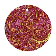 Pink Yellow Hippie Flower Pattern Zz0106 Ornament (round) by Zandiepants