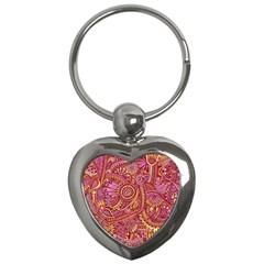 Pink Yellow Hippie Flower Pattern Zz0106 Key Chain (heart) by Zandiepants