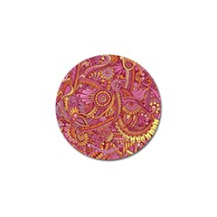 Pink Yellow Hippie Flower Pattern Zz0106 Golf Ball Marker (10 Pack) by Zandiepants