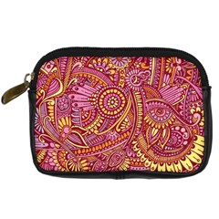 Pink Yellow Hippie Flower Pattern Zz0106 Digital Camera Leather Case by Zandiepants