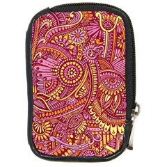 Pink Yellow Hippie Flower Pattern Zz0106 Compact Camera Leather Case by Zandiepants