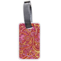 Pink Yellow Hippie Flower Pattern Zz0106 Luggage Tag (one Side) by Zandiepants