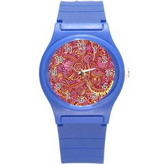 Pink Yellow Hippie Flower Pattern Zz0106 Round Plastic Sport Watch (s) by Zandiepants