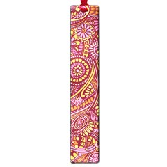 Pink Yellow Hippie Flower Pattern Zz0106 Large Book Mark by Zandiepants