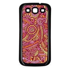 Pink Yellow Hippie Flower Pattern Zz0106 Samsung Galaxy S3 Back Case (black) by Zandiepants