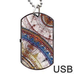 Fractal Circles Dog Tag USB Flash (One Side) by Zeze