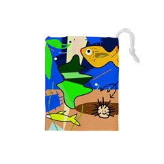 Aquarium  Drawstring Pouches (small)  by Valentinaart