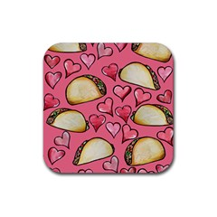 Taco Tuesday Lover Tacos Rubber Coaster (square)  by BubbSnugg