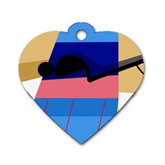 Jumping Dog Tag Heart (one Side) by Valentinaart