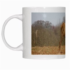 Red Deer Stag on a Hill White Mugs by GiftsbyNature