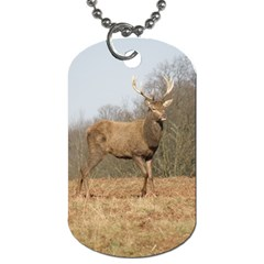 Red Deer Stag On A Hill Dog Tag (one Side) by GiftsbyNature