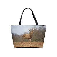 Red Deer Stag On A Hill Shoulder Handbags by GiftsbyNature