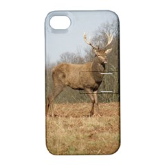 Red Deer Stag On A Hill Apple Iphone 4/4s Hardshell Case With Stand by GiftsbyNature