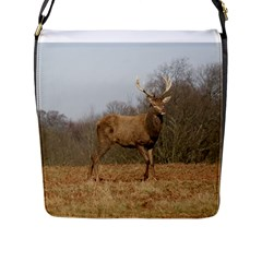 Red Deer Stag On A Hill Flap Messenger Bag (l)  by GiftsbyNature