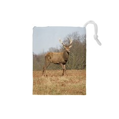 Red Deer Stag On A Hill Drawstring Pouches (small)