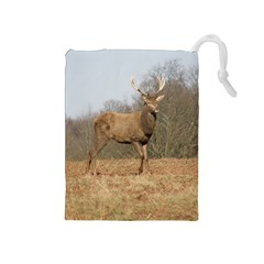 Red Deer Stag On A Hill Drawstring Pouches (medium)  by GiftsbyNature