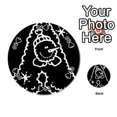 Funny Snowball Doodle Black White Playing Cards 54 (round)  by yoursparklingshop