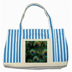 Feathers Art Peacock Sheets Patterns Striped Blue Tote Bag by Zeze