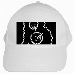 Funny Black And White Doodle Snowballs White Cap by yoursparklingshop
