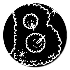 Funny Black And White Doodle Snowballs Magnet 5  (round) by yoursparklingshop