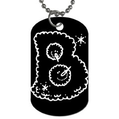 Funny Black And White Doodle Snowballs Dog Tag (two Sides) by yoursparklingshop