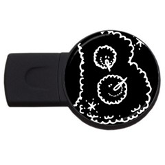 Funny Black And White Doodle Snowballs Usb Flash Drive Round (2 Gb)  by yoursparklingshop