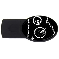 Funny Black And White Doodle Snowballs Usb Flash Drive Oval (2 Gb)  by yoursparklingshop
