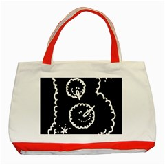 Funny Black And White Doodle Snowballs Classic Tote Bag (red) by yoursparklingshop