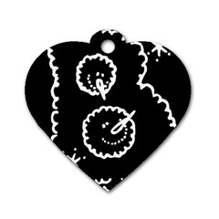 Funny Black And White Doodle Snowballs Dog Tag Heart (two Sides) by yoursparklingshop