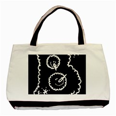 Funny Black And White Doodle Snowballs Basic Tote Bag (Two Sides)