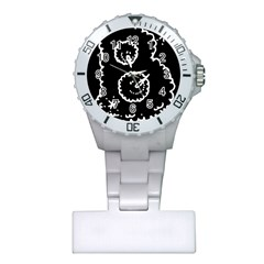 Funny Black And White Doodle Snowballs Plastic Nurses Watch by yoursparklingshop