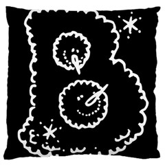 Funny Black And White Doodle Snowballs Large Flano Cushion Case (two Sides) by yoursparklingshop