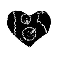 Funny Black And White Doodle Snowballs Standard 16  Premium Flano Heart Shape Cushions by yoursparklingshop
