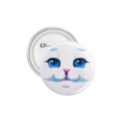 Cute White Cat Blue Eyes Face 1.75  Buttons by Zeze