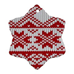 Crimson Knitting Pattern Background Vector Snowflake Ornament (2-Side) by Zeze