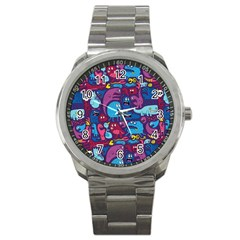 Mo Monsters Mo Patterns Sport Metal Watch by AnjaniArt