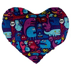 Mo Monsters Mo Patterns Large 19  Premium Heart Shape Cushions by AnjaniArt