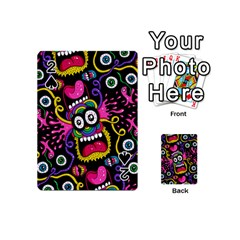 Monster Face Mask Patten Cartoons Playing Cards 54 (Mini)  by AnjaniArt
