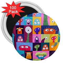 Monster Quilt 3  Magnets (100 Pack) by AnjaniArt