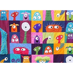 Monster Quilt Birthday Cake 3d Greeting Card (7x5)