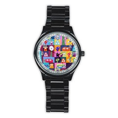 Monster Quilt Stainless Steel Round Watch by AnjaniArt