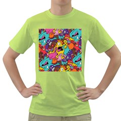 Monsters Pattern Green T Shirt