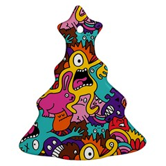 Monsters Pattern Christmas Tree Ornament (2 Sides) by AnjaniArt